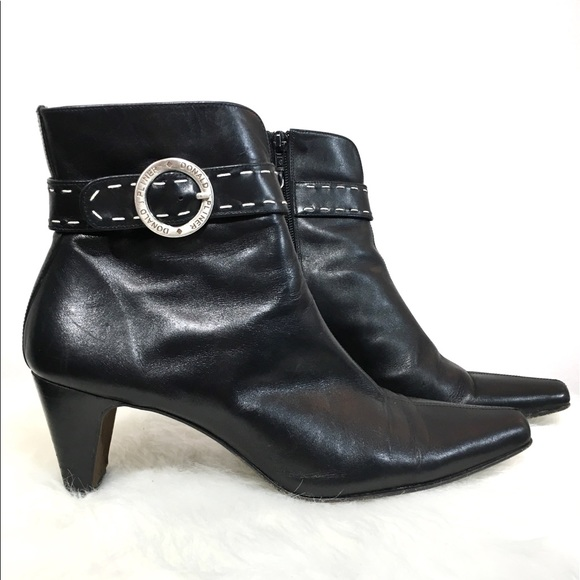 801786b24dc Donald Pliner Leather Black Buckle Ankle Boots